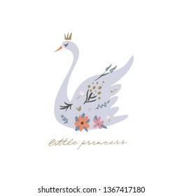 Swan lake. Lettering calligraphy. Girl princess, greeting card poster and postcard, vector image. Clip art