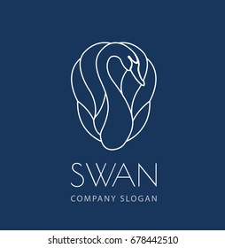 swan line logo sign emblem on blue background vector illustration