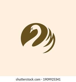 swan logo vector. Abstract minimalistic logo icon bird silhouette of a swan