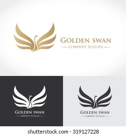 Swan logo,Golden logo, Animal logo,Animal logo collection,Elements for brand identity,Vector Logo template.