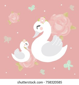 Swan mother baby girl room princess mother baby girl room Cute princess swan on pink background cartoon hand drawn vector illustration t-shirt print, kids wear fashion design, baby shower invitat