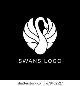 swan on black background logo sign emblem vector illustration