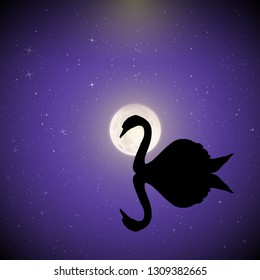 Swan on lake on moonlit night. Vector illustration with silhouette of beautiful bird reflected in water in park. Full moon in starry sky