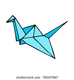 Swan origami vector illustration. Doodle style. Design, print, decor, textile, paper