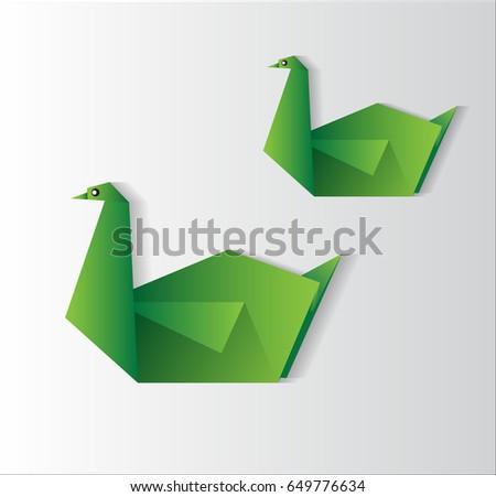 Swan Origami Vector Swan Vector Swan Stock Vector Royalty Free