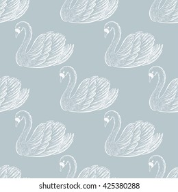 Swan pair seamless pattern.  Hand drawn vector illustration.
