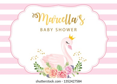 Swan Party Backdrop. Baby Shower Party Backdrop. Poster