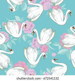 Swan pattern, vector illustration