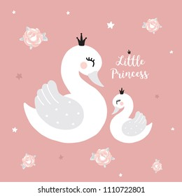 Swan princess mother baby girl room Cute princess swan on pink background cartoon hand drawn vector illustration t-shirt print, kids wear fashion design, baby shower invitation card