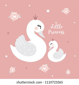 Mother goose baby shower images stock photos vectors shutterstock swan princess mother baby girl room cute princess swan on pink background cartoon hand drawn vector filmwisefo
