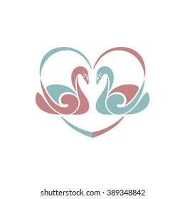 Swan silhouette. Vector illustration. A pair of swans and heart design element.