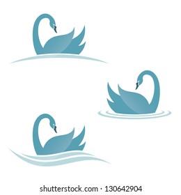 Swan symbols - vector illustration