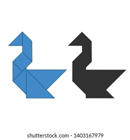 swan Tangram. Traditional Chinese dissection puzzle, seven tiling pieces - geometric shapes: triangles, square rhombus , parallelogram. Board game for kids that helps to develop analytical skills