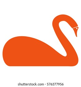 Swan vector icon symbol. Flat pictogram designed with orange and isolated on a white background.