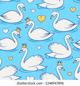 Swan vector seamless pattern, cute childish illustration with princess crown