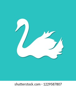 Swan white simple silhouette shape vector drawing. Bird floating on water. Hand drawn wildlife animal. Fauna. Swan lake. Thin line waterbird specie drawing. Minimalistic contour illustration