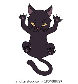Swank and Disdainful black cat cartoon, vagabond cat, EPS10vector.