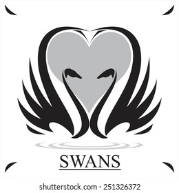 swans in black and white. couple of swan and heart icon,couple in love. Suitable for wedding symbol, wedding invitation, romantic gift, wedding anniversary, romantic moment, symbol of honeymoon, etc.