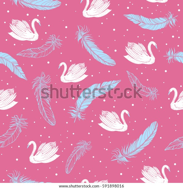 Swans with feather pattern on a pink background. Vector.