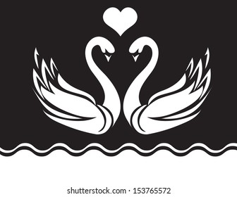 Swans with heart