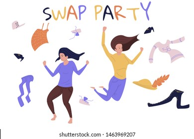 Swap party concept vector illustraion. Banner with two girls dancing with different clothes scattering around them. Cloth donation concept illustration. Vector for eco and mindful living.