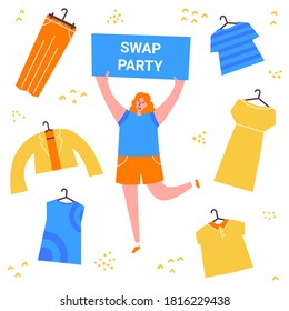 Swap party girl with banner. Sell, buy and exchange clothes. Garage sale. Young social and eco responsible girl at fashion swap party. Reduce and reuse concept. Vector flat style illustration.