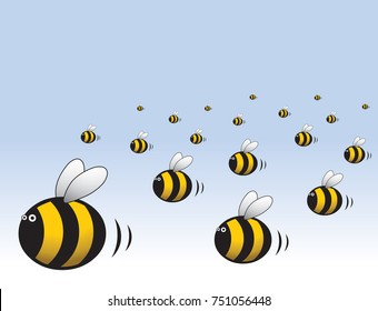 Swarm of busy bees cartoon character illustration