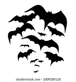 Swarm of flying bats. Small bloodsucker.
