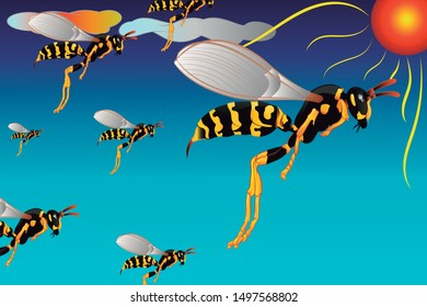 Swarm of wasps, colorful colors with clouds in the upper left and a bright sun various colors