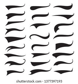 Swash and swooshes tails typography set, brush curve. Vector flat style cartoon text tails illustration isolated on white background