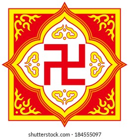 Swastika symbol-Buddhist tradition pattern(the symbol could be commonly found in Buddhist temples, religious artifacts, texts related to Buddhism and schools founded by Buddhist religious groups)