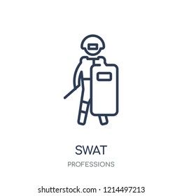 Swat icon. Swat linear symbol design from Professions collection. Simple outline element vector illustration on white background.
