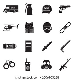 SWAT Icons. Black Flat Design. Vector Illustration.