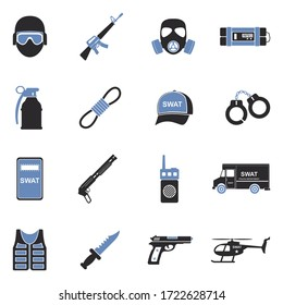 SWAT Icons. Two Tone Flat Design. Vector Illustration.