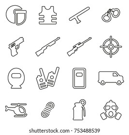 SWAT Team or Special Forces Icons Thin Line Vector Illustration Set