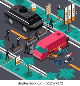 Swat unit team tactics in action searching for gunman isometric composition poster with blocking streets vector illustration