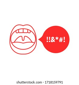 swear talk with red outline open mouth. flat trend modern simple dissatisfaction logotype graphic design isolated on white background. concept of annoyed client or online voice insults or dirty text