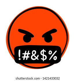 Swearing emoji. Angry-red face with a black bar covering its mouth