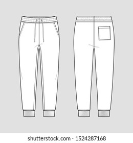 Sweat jogger pants with an elasticated drawstring waist in a relaxed style. Tapered leg with ribbed hem. Mockup template.