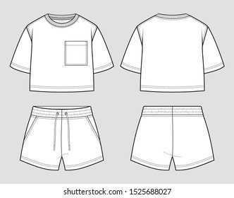 Sweat set. Oversized t-shirt and shorts. Vector sketch. Mockup template.