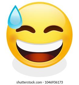 Sweat Tear Expression Emoji Smiley Face Vector Design Art