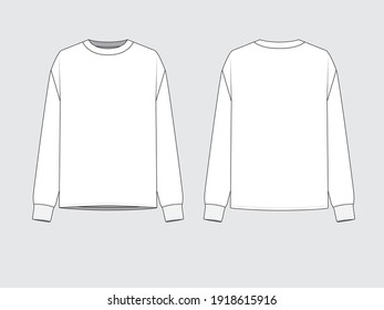 sweater, front and back, drawing technical flat sketches of garments with vector illustration.