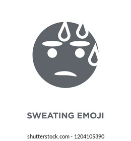 Sweating emoji icon. Sweating emoji design concept from Emoji collection. Simple element vector illustration on white background.
