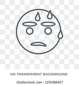 Sweating emoji icon. Sweating emoji design concept from Emoji collection. Simple element vector illustration on transparent background.