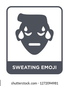 sweating emoji icon vector on white background, sweating emoji trendy filled icons from Emoji collection, sweating emoji simple element illustration