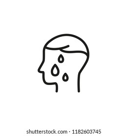 Sweating line icon. Person, profile, drops, wet. Health care concept. Can be used for topics like fiver, disease, symptoms, cold, flu