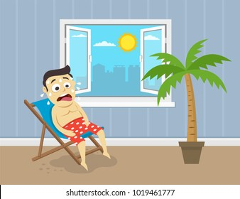 Sweating man sitting on his beach chair in front of opened windows. Hot summer day. Flat vector illustration.