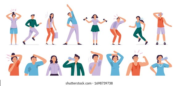 Sweating people. Sweaty man with wet underarms, gymnastically tired girl and unpleasant underarm smell vector set. Man and woman sweat, sweaty and sweating body illustration