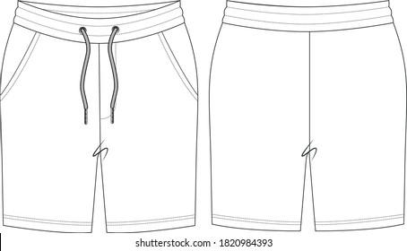 sweatpant drawstring short, technical drawing