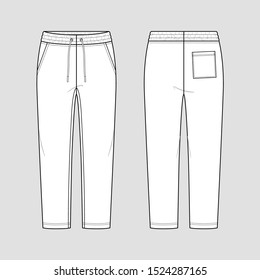 Sweatpants with an elasticated drawstring waist in a relaxed style. Tapered leg. Mockup template.